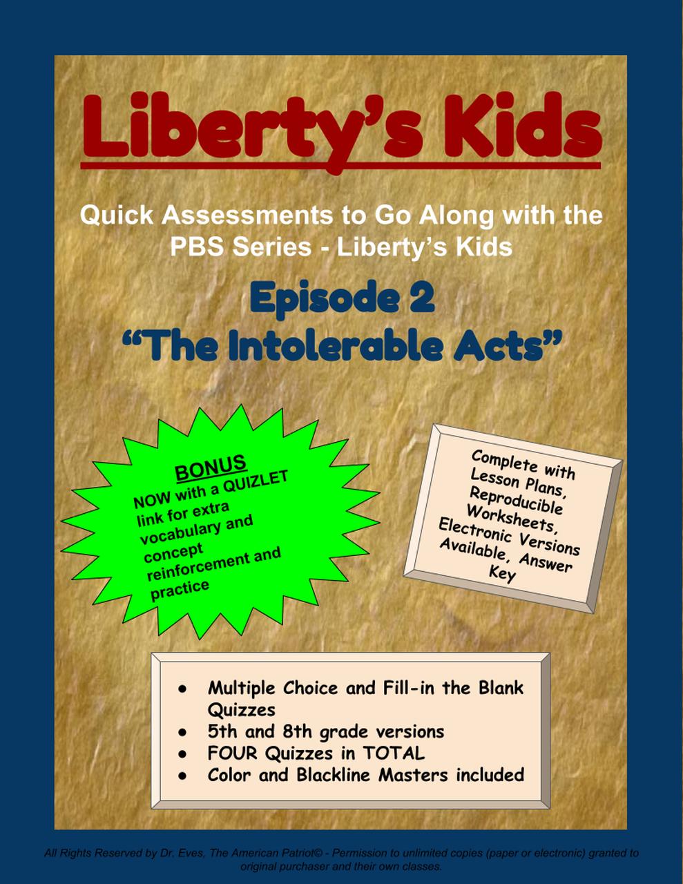 Liberty s kids episode. Intolerable acts clipart colonization