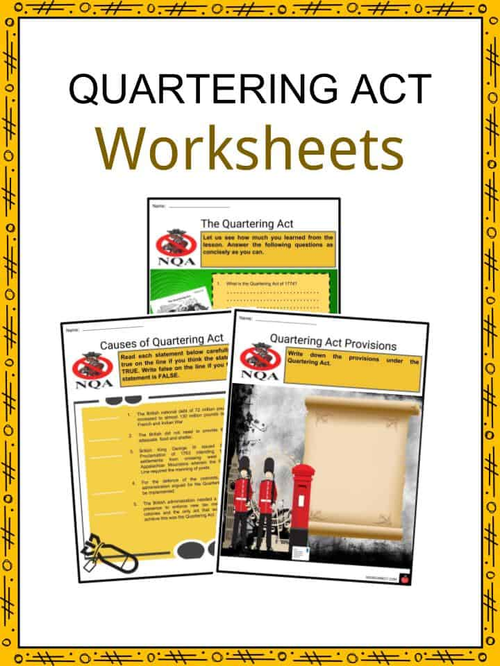 Quartering act facts worksheets. Intolerable acts clipart constitution