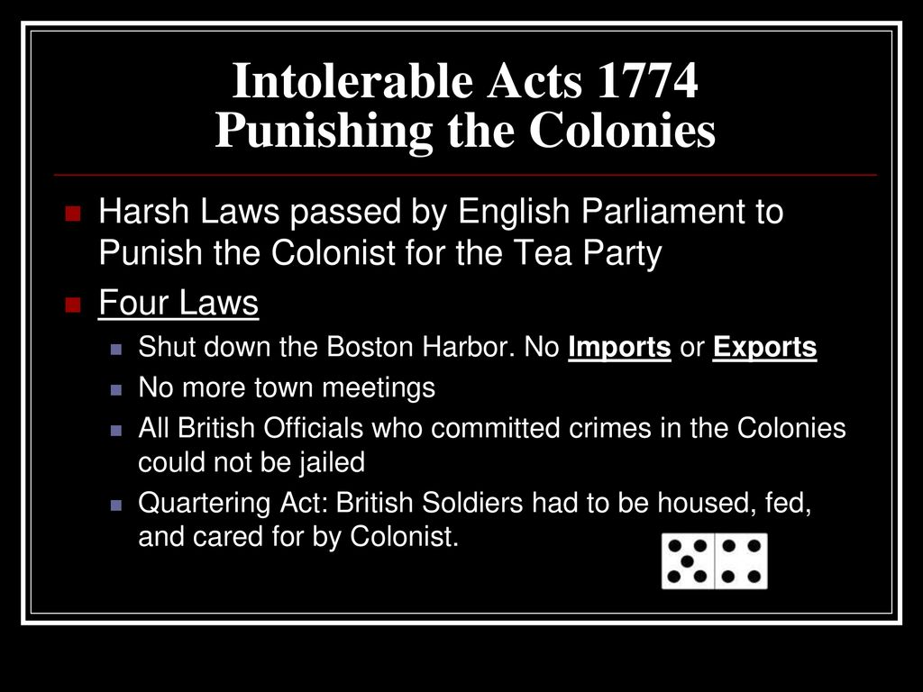 Intolerable acts clipart import export. Write question and out