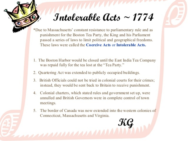 Intolerable acts clipart passed. Events leading up to