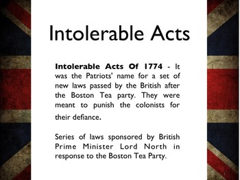 Powerpoint worksheets teaching resources. Intolerable acts clipart tea british