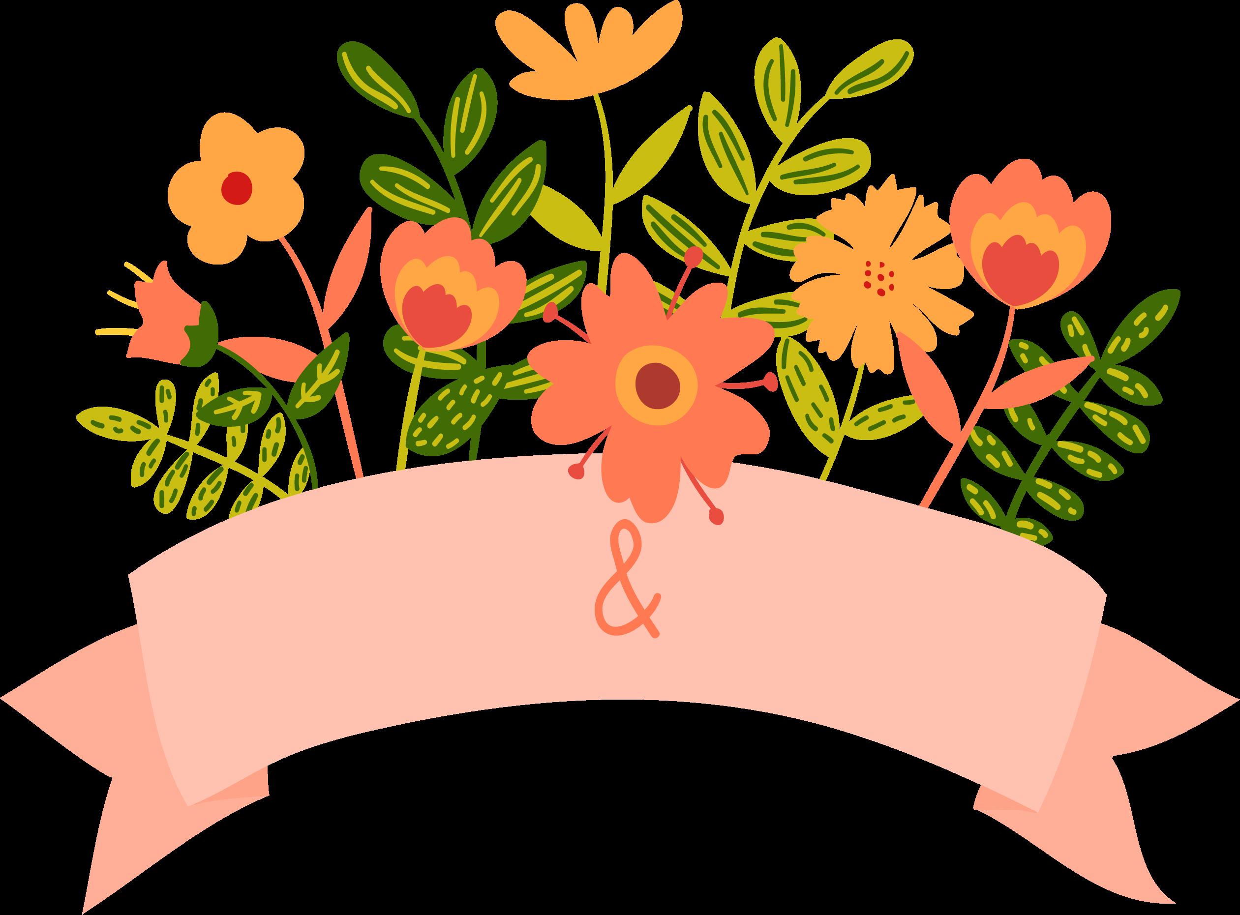 Flower banner png. Cartoon floral wedding invitation
