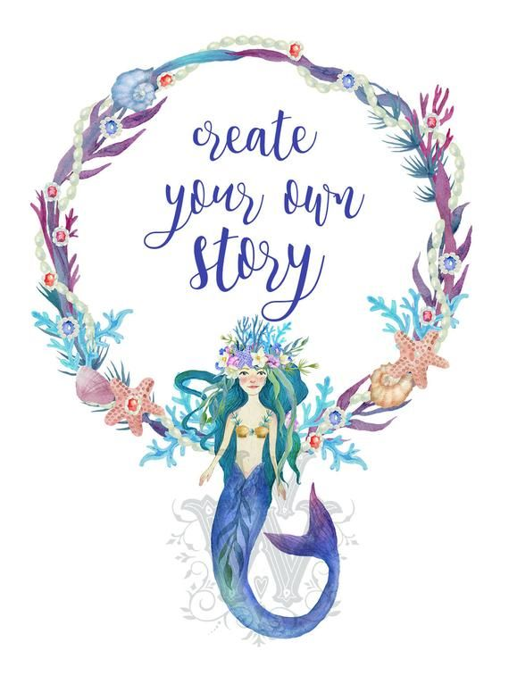 Mermaid clipart invitation. Watercolor sea ocean little