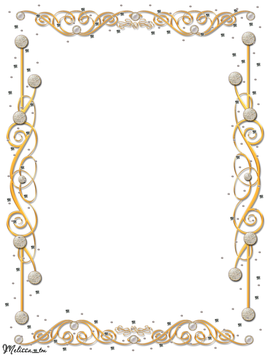 Invitation frame png. Golden with gems by