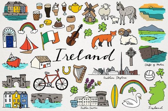 Ireland city and country. Irish clipart landmarks