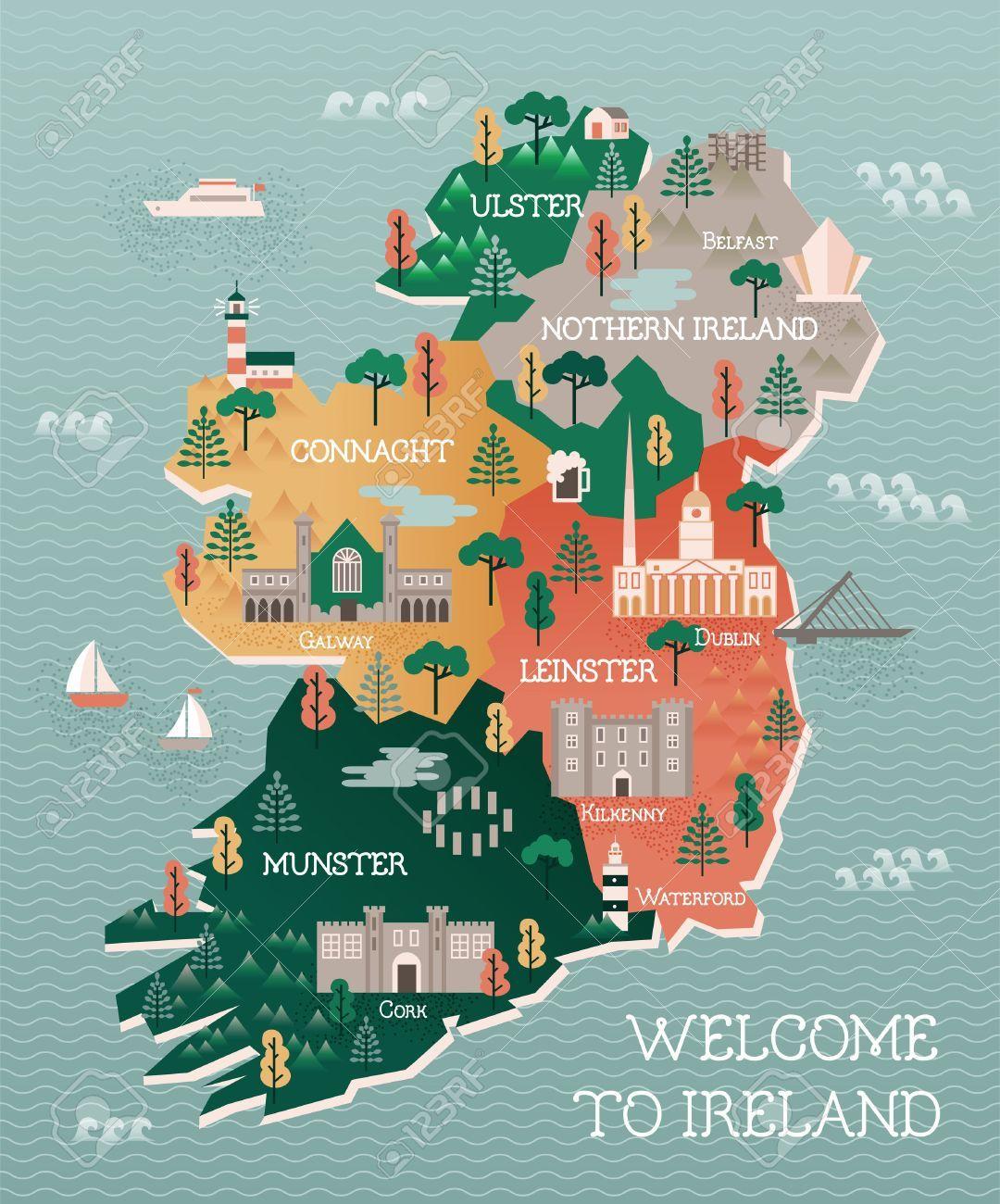 Irish clipart landmarks. Stock vector ireland land