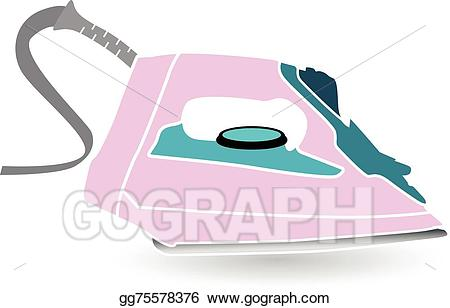 Iron clipart pink. Vector illustration electric eps
