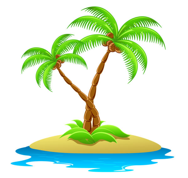 Clipart leaf coconut tree. Island with palm trees