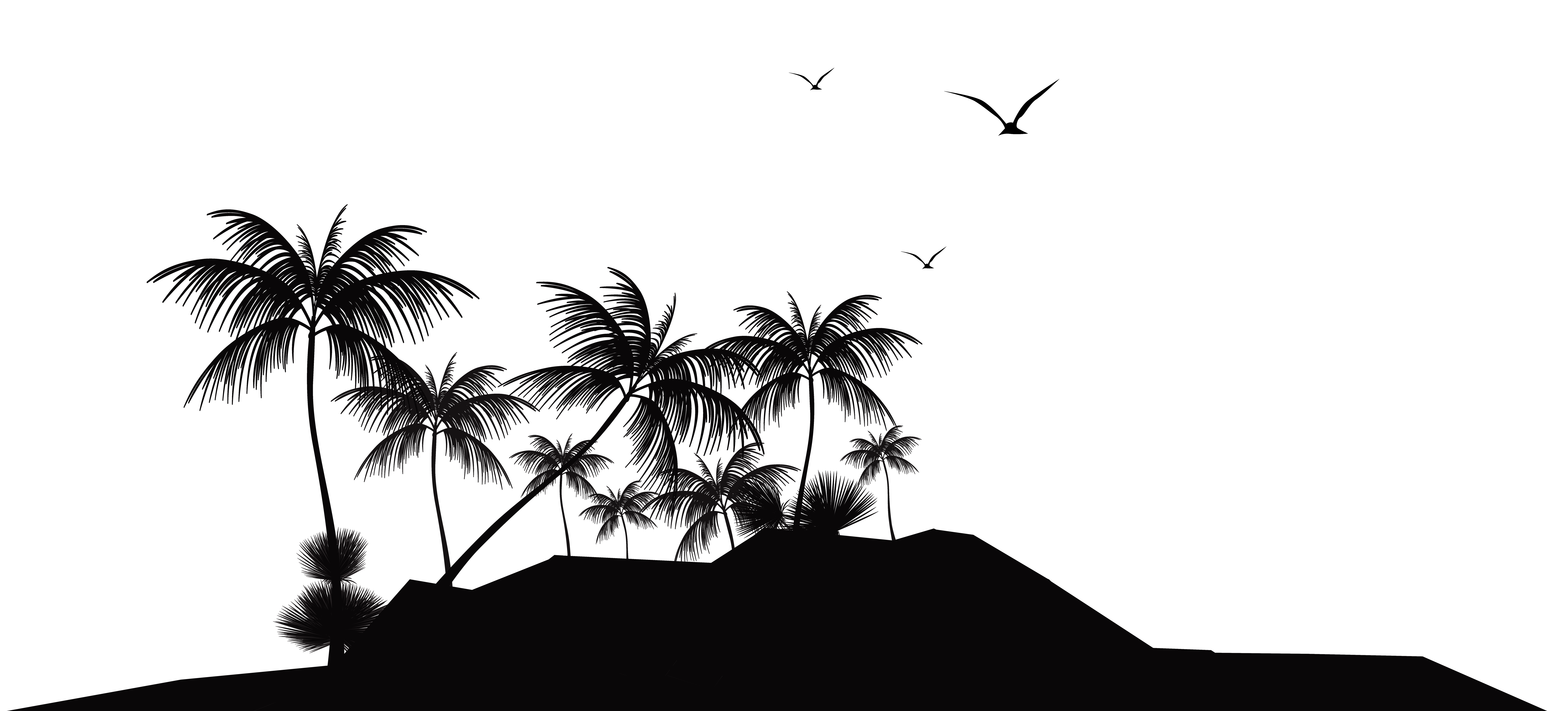 Island clipart. Tropical silhouette png clip