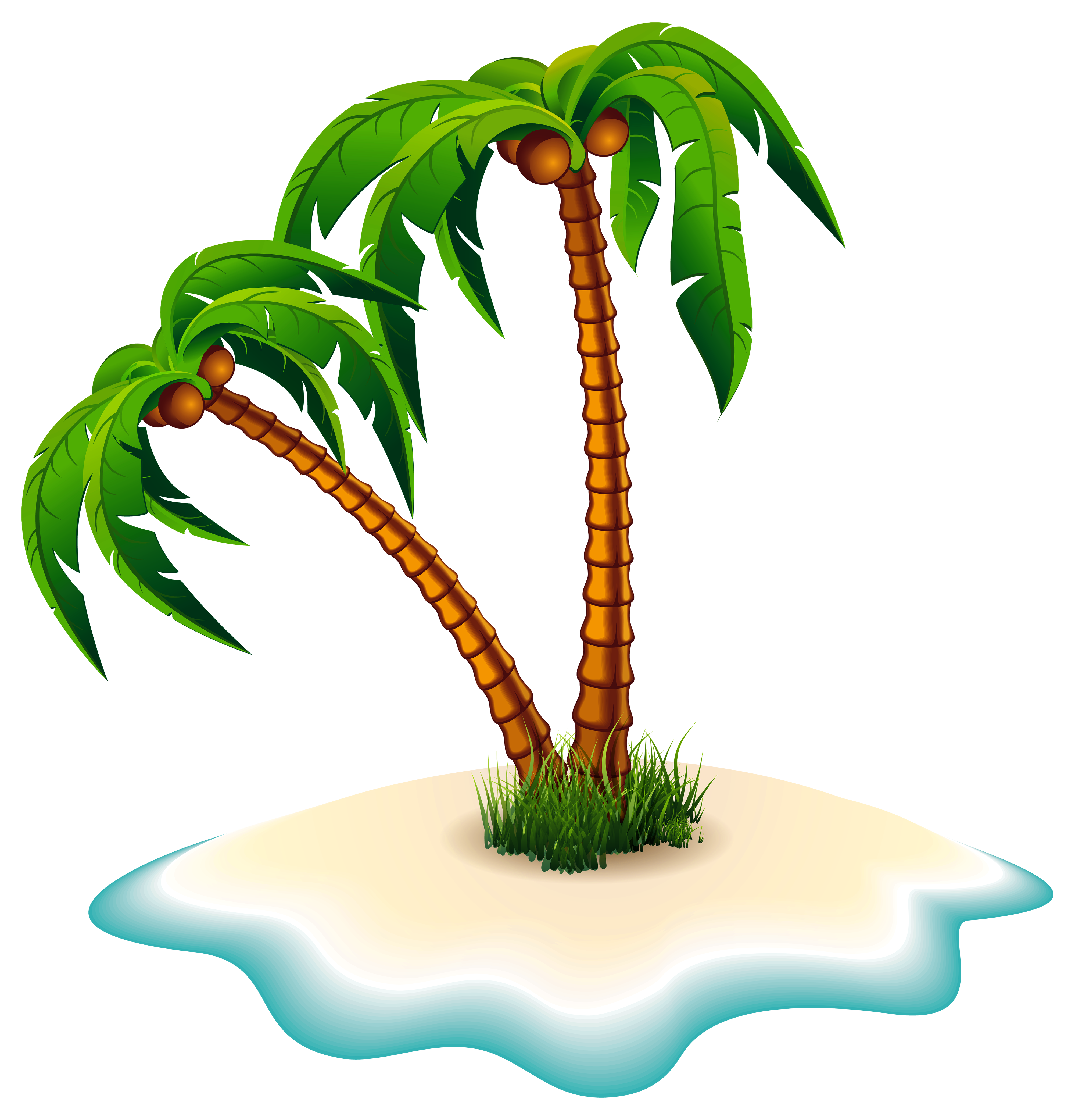 Palm trees and png. Island clipart