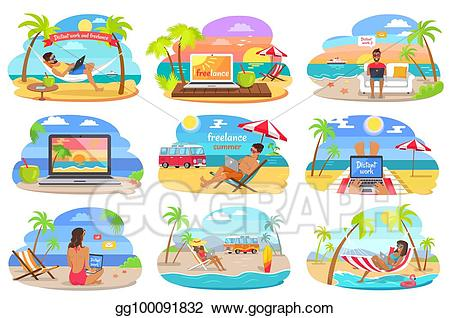 Vector work and freelance. Island clipart distant