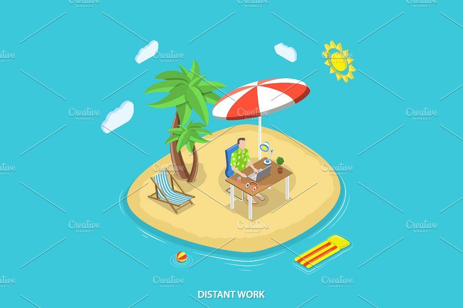 Island clipart distant. Work isometric concept table