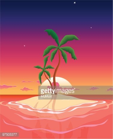 Pristine stock vectors me. Island clipart island sunset