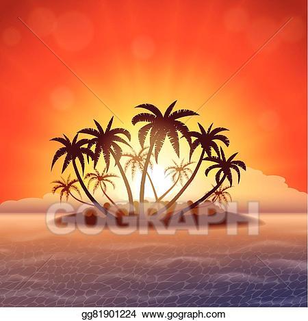 Island clipart island sunset. Vector stock paradise at