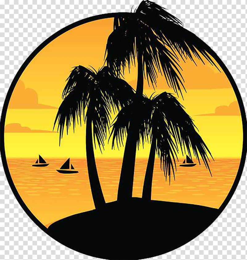 Silhouette of coconut trees. Island clipart island sunset