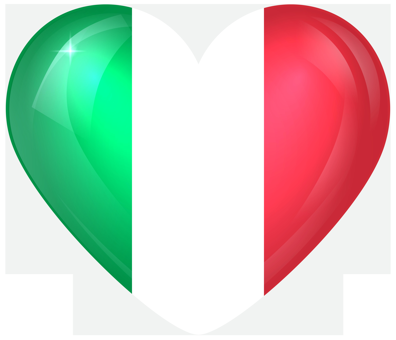 Italy large heart flag. Italian clipart border
