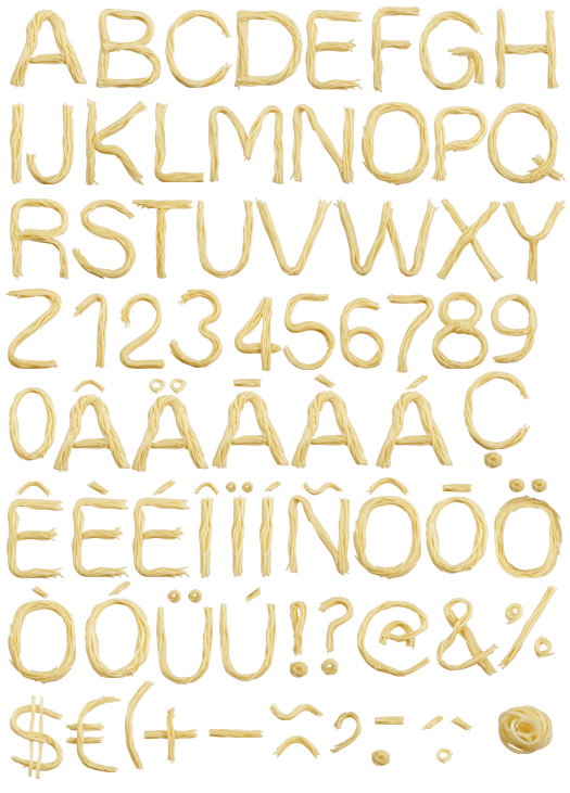 Italian clipart font. Spaghetti side of handmade