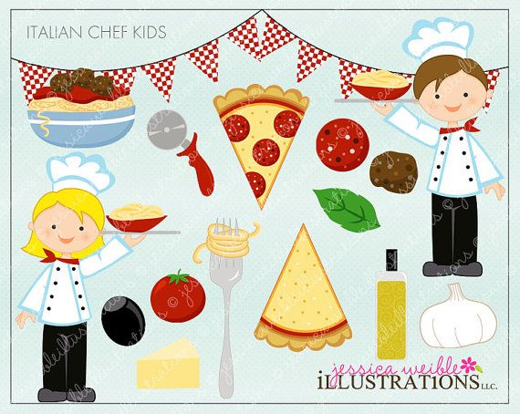 Chef kids cute digital. Italian clipart item