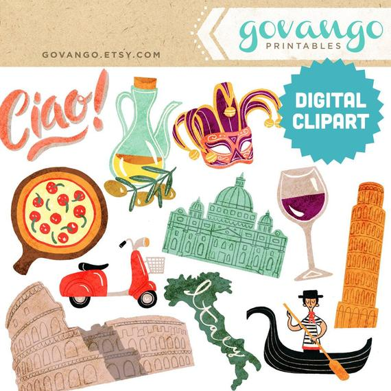 Italian clipart item. Italy digital instant download