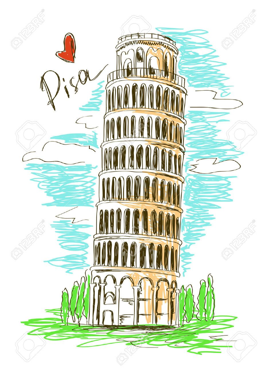 Italian clipart tower. Stock vector italia in