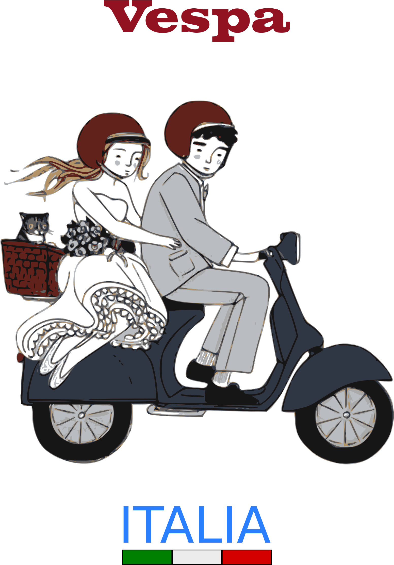 Vespa big image png. Scooter clipart retro scooter