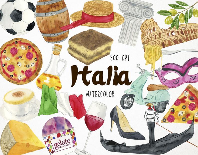 Italy clipart dish italian. Clip art summer watercolor