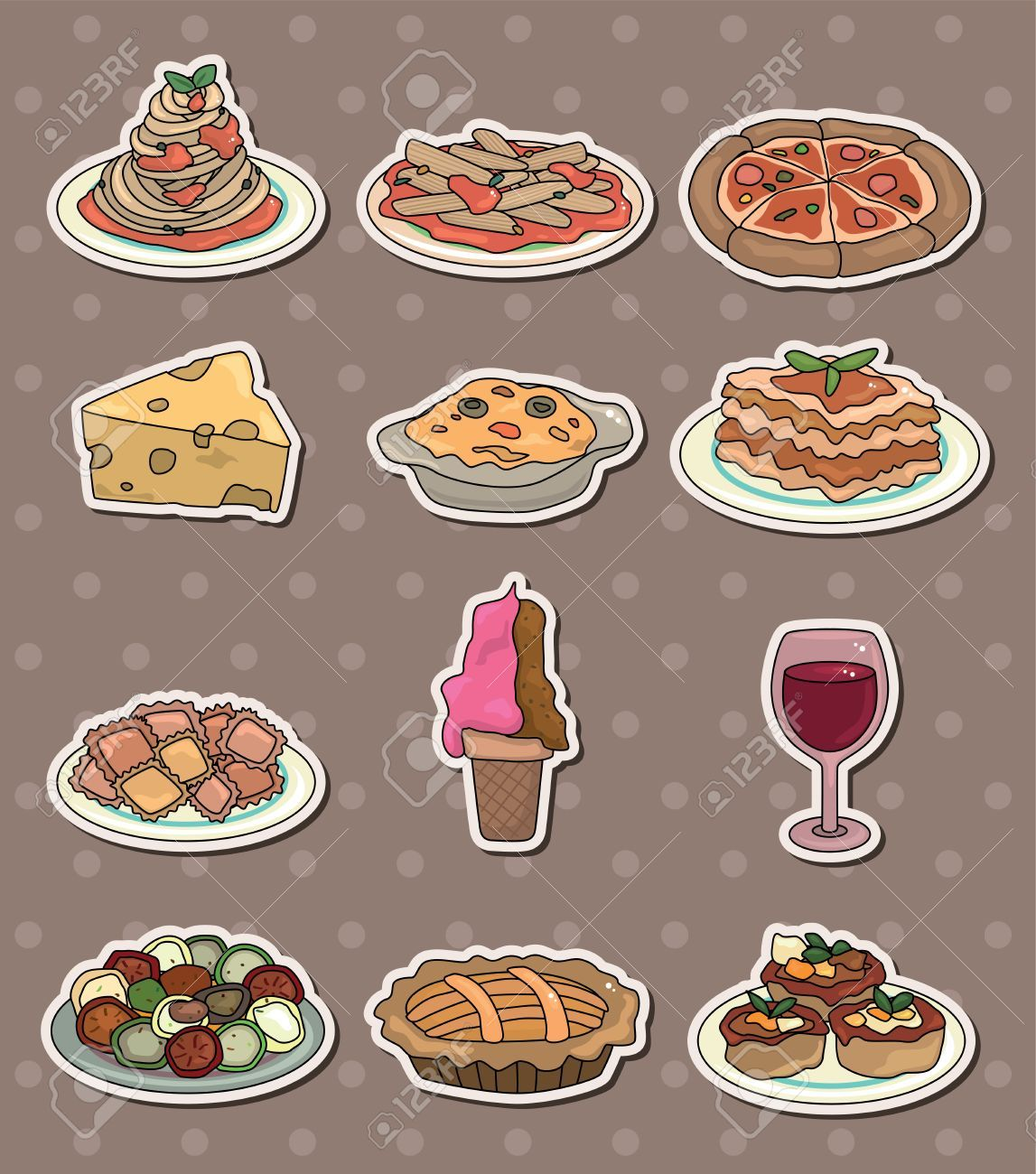 Pasta food stickers for. Italy clipart lunch italian