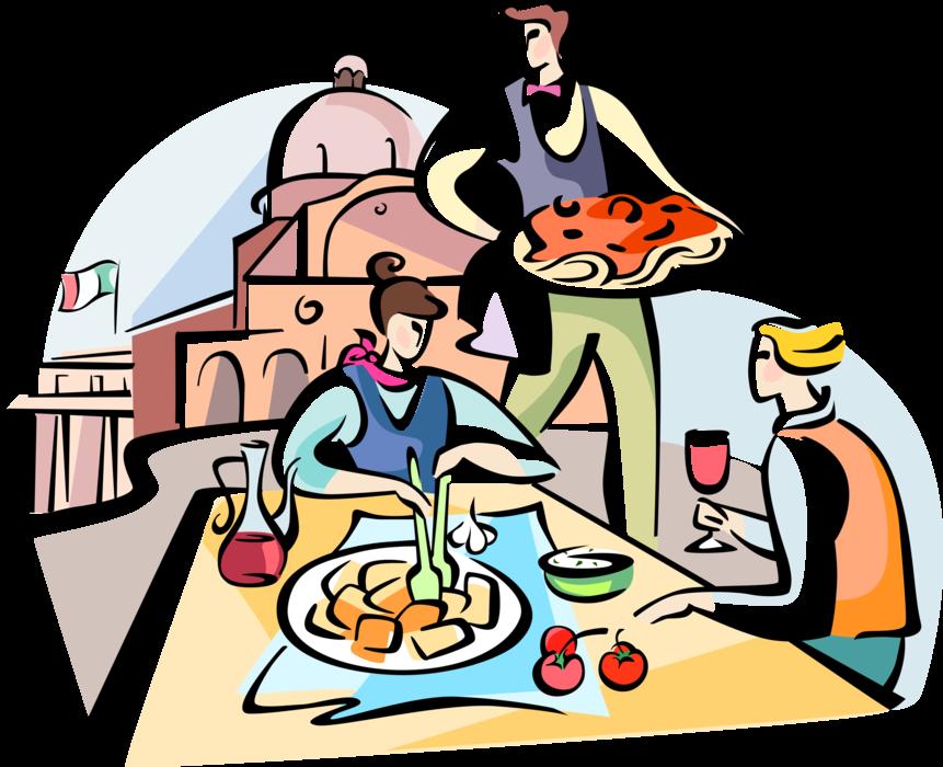 Italy clipart lunch italian. Waiter serves pasta vector