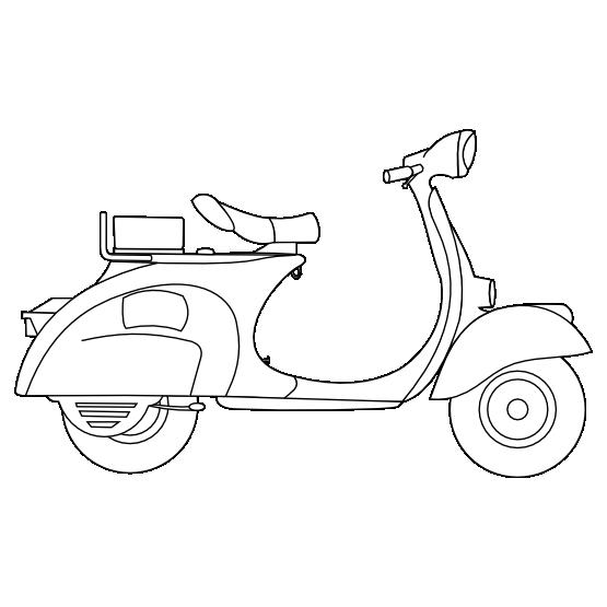 Vespa black white line. Scooter clipart retro scooter