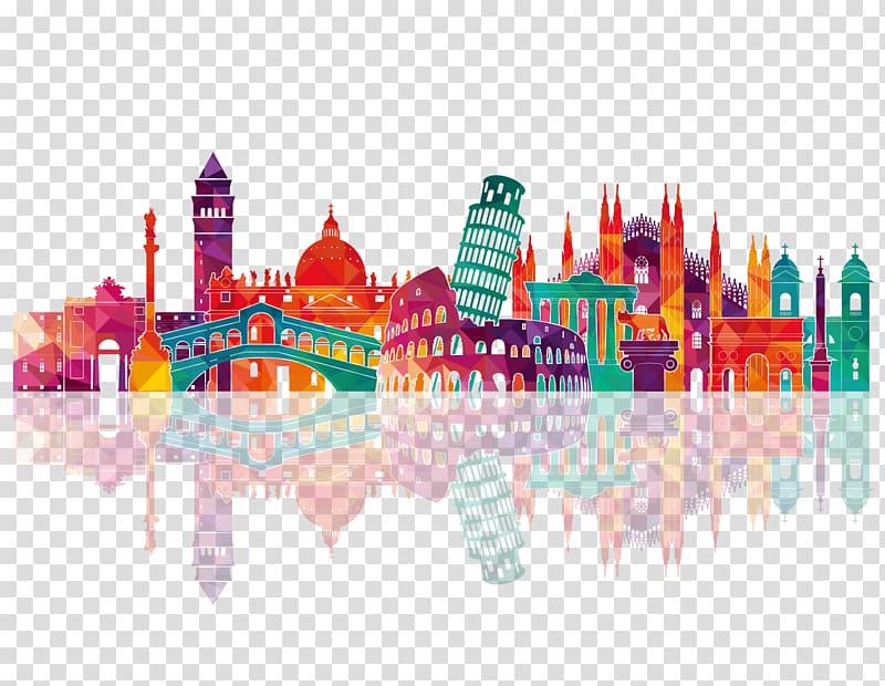 Landmark artwork skyline drawing. Italy clipart silhouette