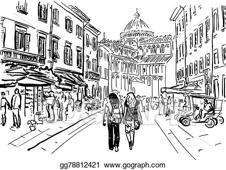 Vector art street in. Italy clipart sketch
