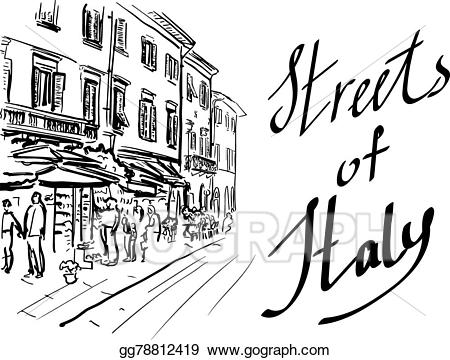 Italy clipart sketch. Vector art street in