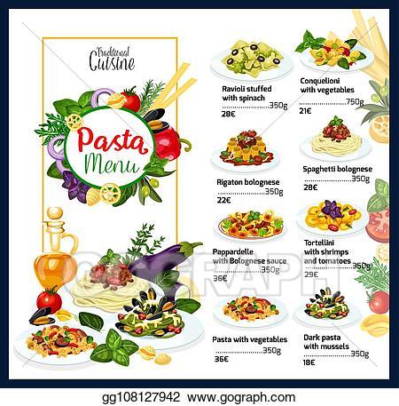 Pasta clipart restaurant food. Vector stock italian cuisine