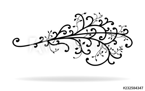 Vector of curls vines. Ivy clipart accent