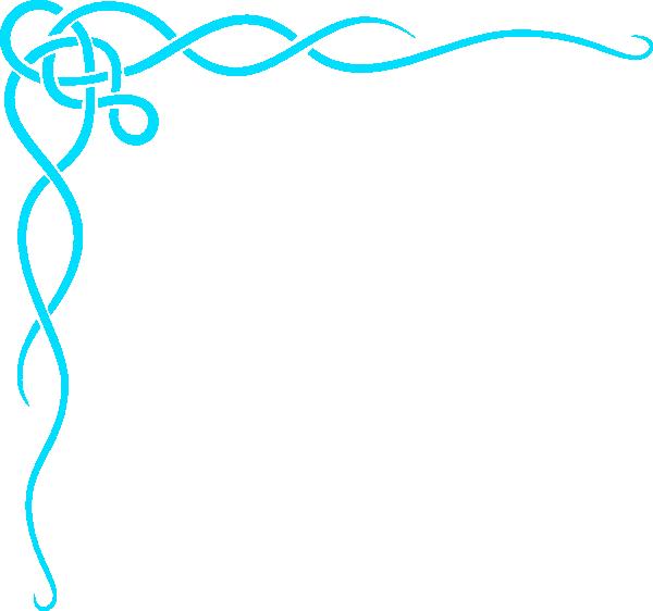 Aqua ribbon border clip. Scroll clipart elegant