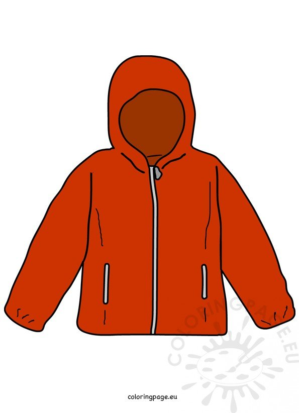 Clipart kid jacket. Red kids clothing coloring