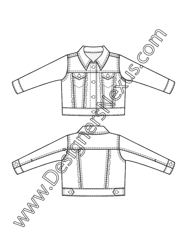 Childrenswear apparel flat sketch. Jacket clipart jeans jacket