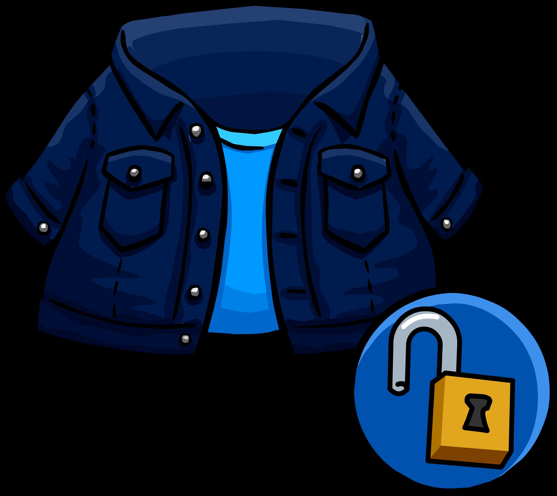 Dark denim club penguin. Jacket clipart jeans jacket