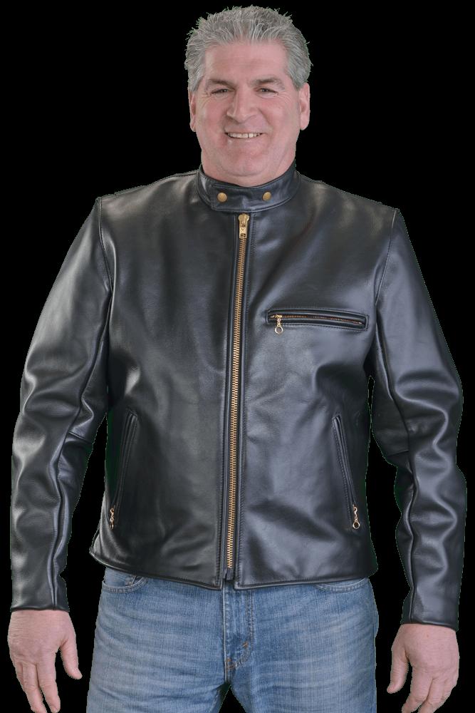 Model d black leather. Jacket clipart motorcycle jacket