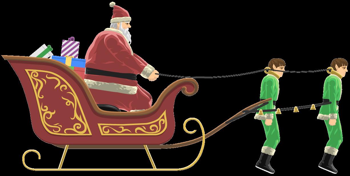 Santa claus happy wheels. Sleigh clipart sleigh bell
