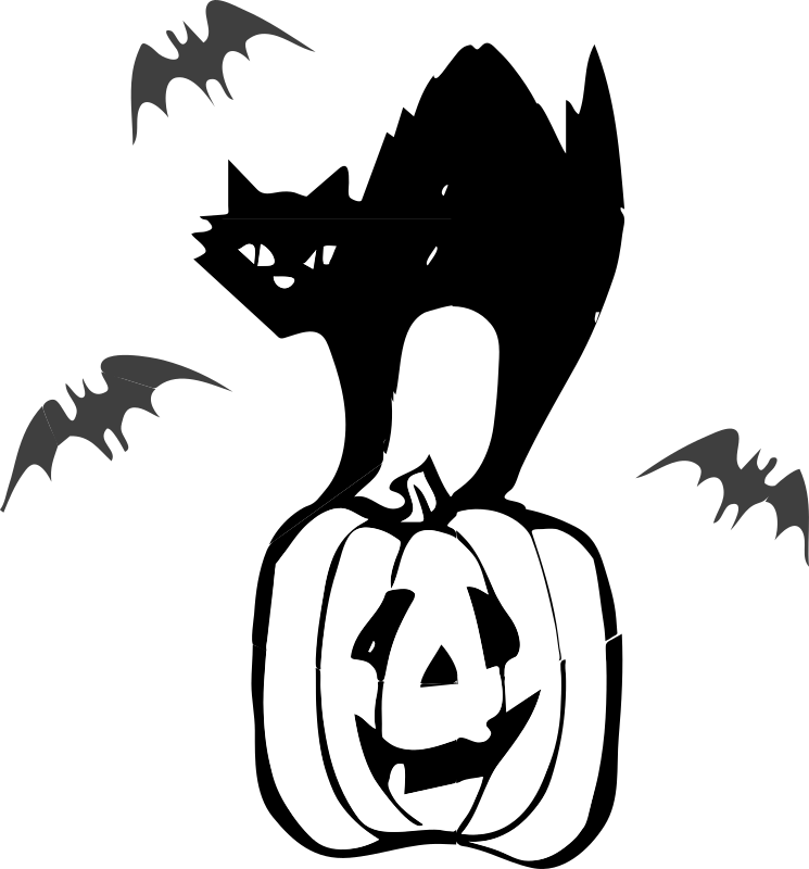 Jackolantern clipart printable. Halloween black cat free