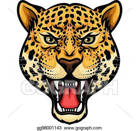 Jaguar clipart. Eps vector head isolated