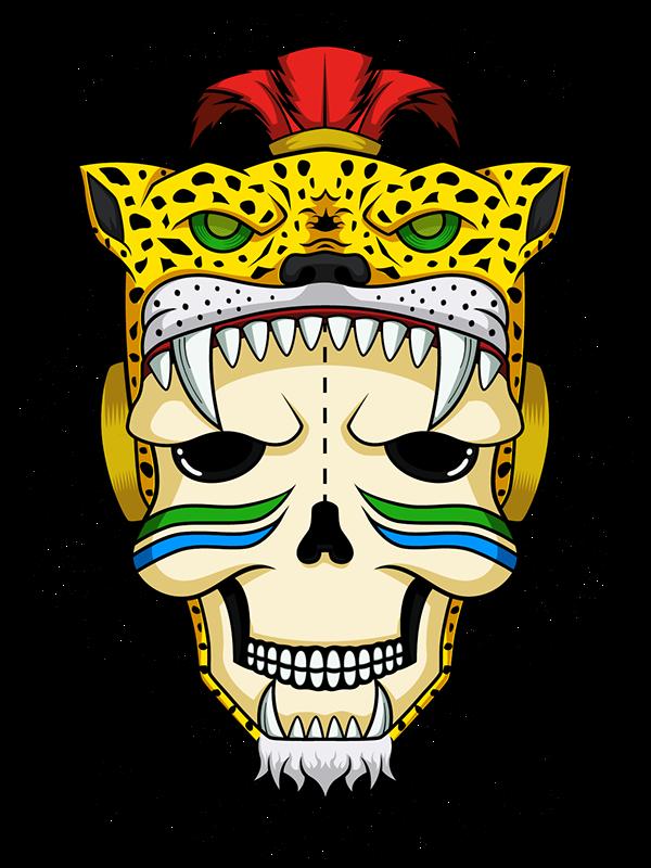 Calavera jaguar azteca on. Warrior clipart guerrero
