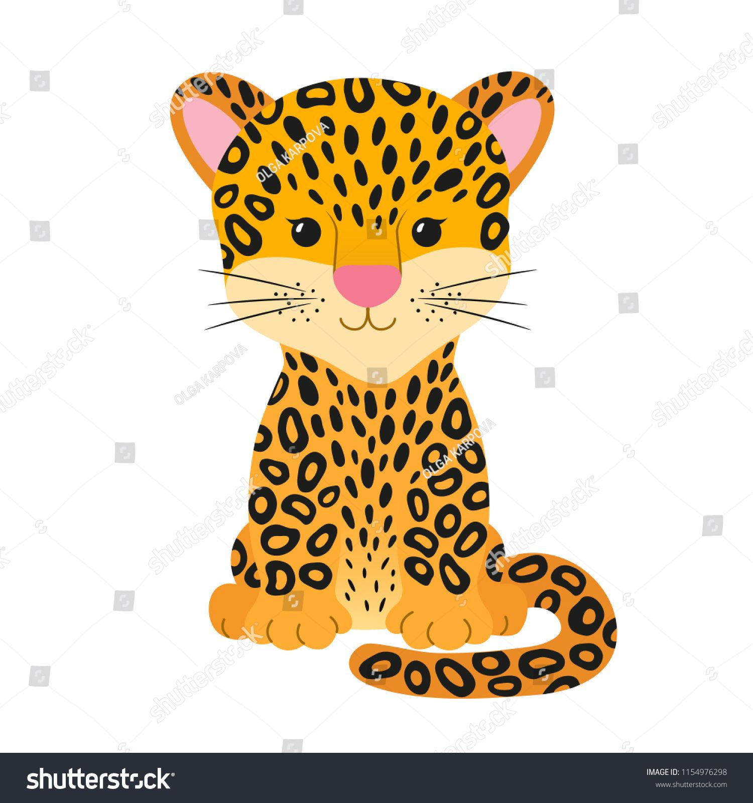 Jaguar clipart tropical animal. Cute cheetah leopard or