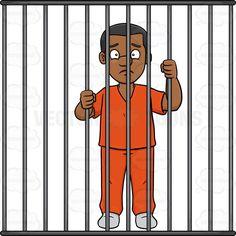 Cartoon clip art man. Jail clipart