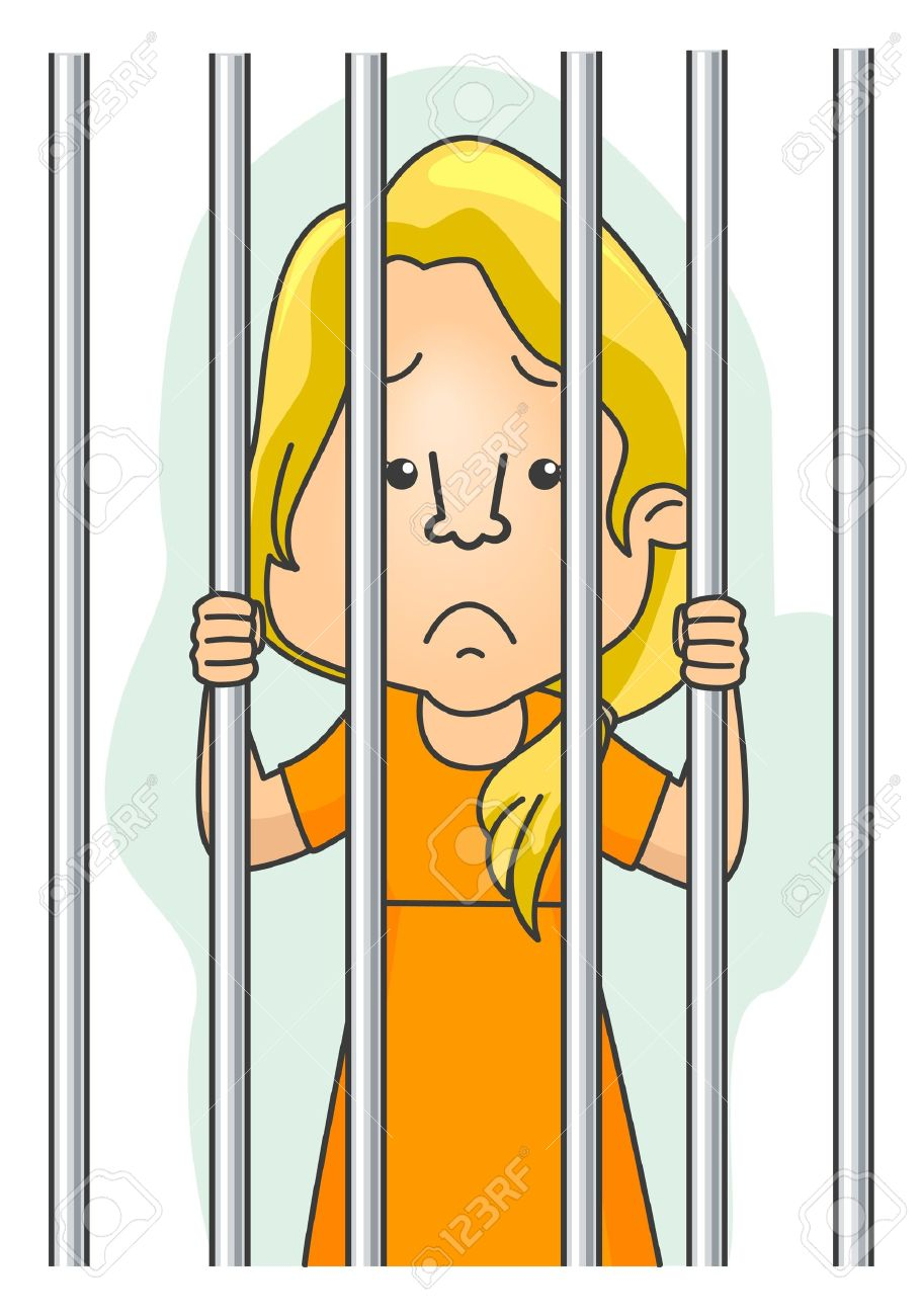 Woman in . Jail clipart