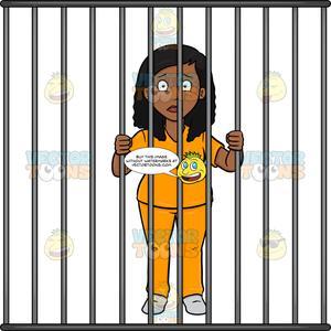 Jail clipart behind bar. A black woman bars