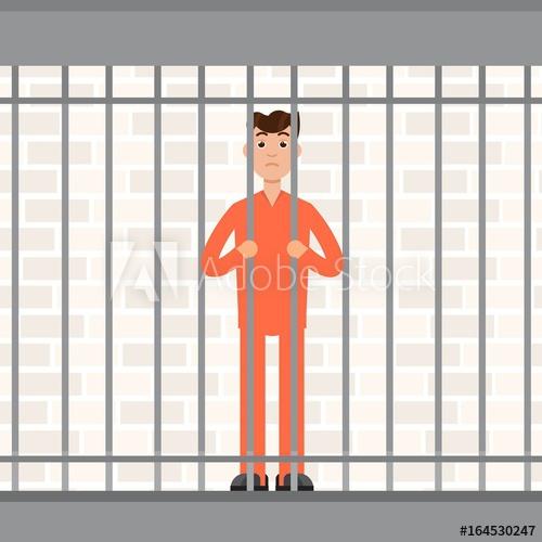 The prisoner bars convict. Jail clipart behind bar