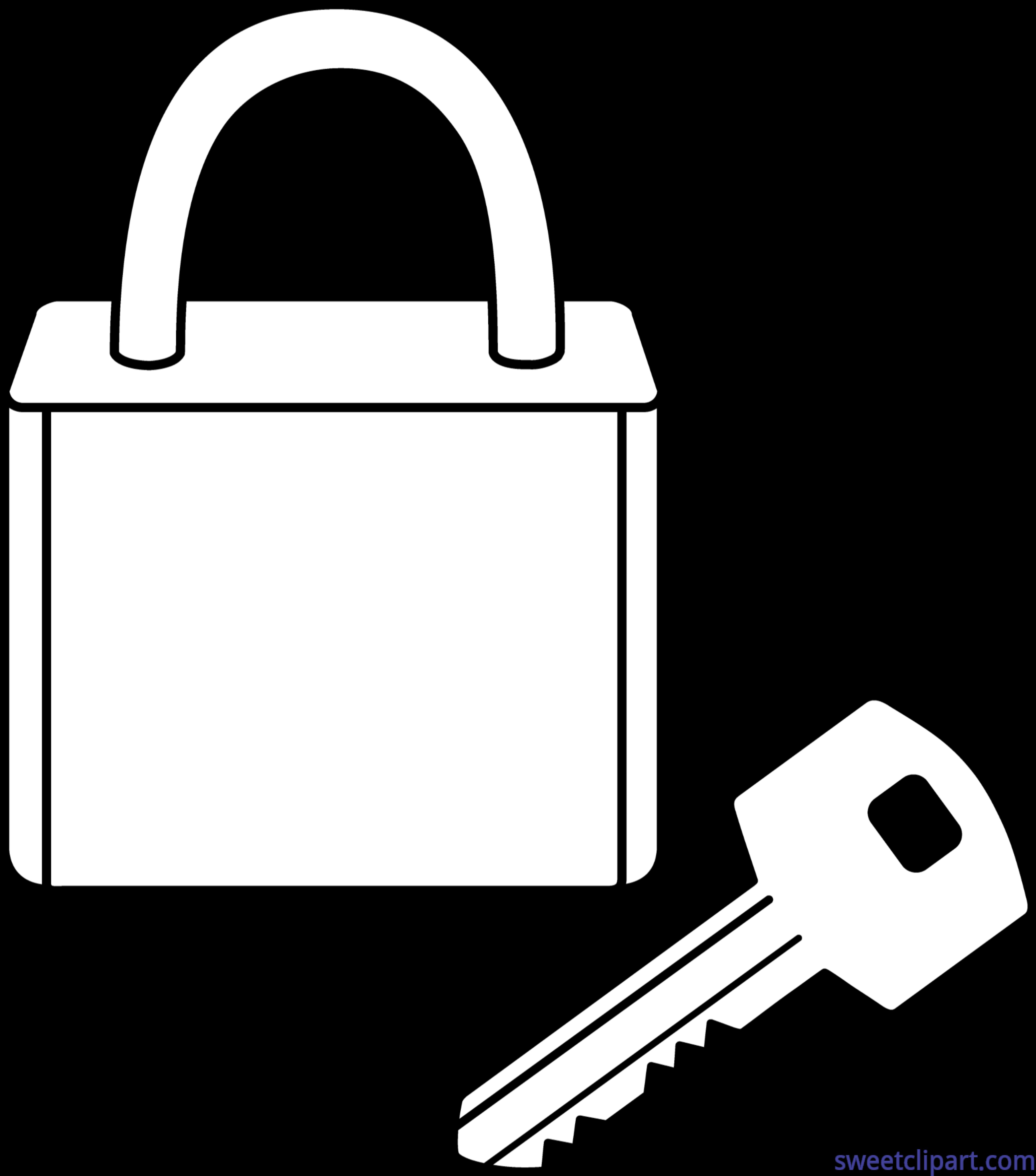 Lock clipart lock and key. Line art frames illustrations