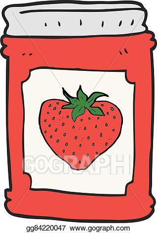 Clip art vector cartoon. Strawberries clipart jar